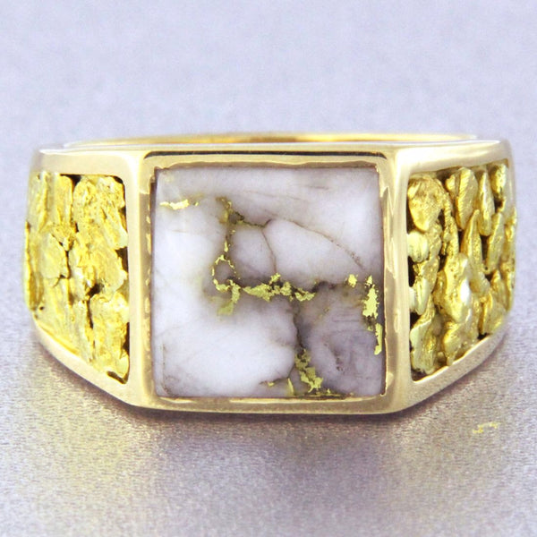 Natural Gold Quartz & Gold Nugget Men's Ring