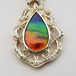 Tear Drop Ammolite Pendant 14kt Gold