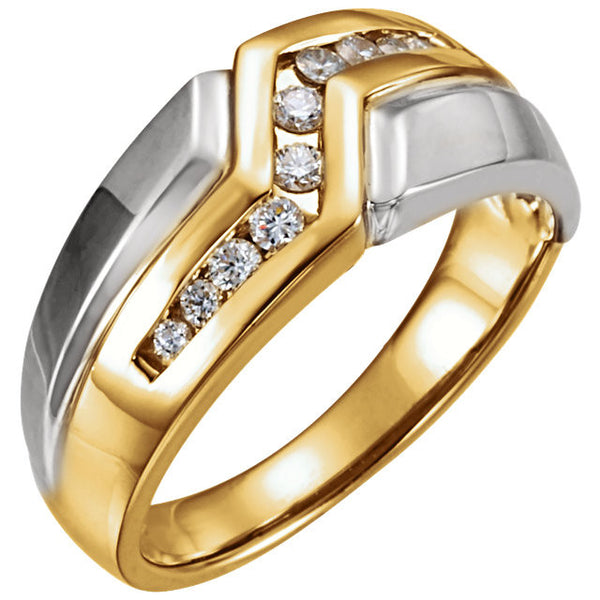 Men's Two-Tone Diamond Ring 14kt