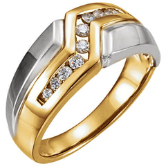 Mens Two-Tone Diamond Ring 14kt