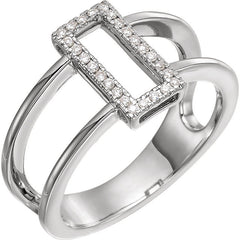 DIAMOND RING 14KT WHITE GOLD RECTANGULAR