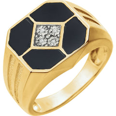 MEN'S ONYX & DIAMOND RING 14KT GOLD