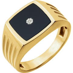 MEN'S ONYX & DIAMOND RING 14KT GOLD SOLITAIRE
