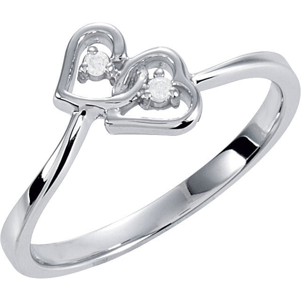 DOUBLE HEART DIAMOND RING 14KT WHITE GOLD