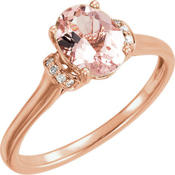 OVAL CUT NATURAL MORGANITE & DIAMOND RING 14KT ROSE GOLD