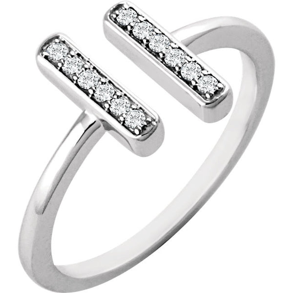 DOUBLE VERTICAL BAR DIAMOND RING 14KT WHITE GOLD