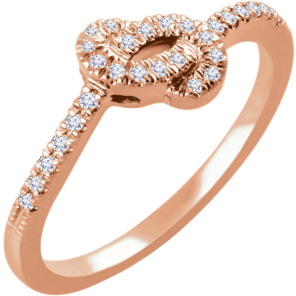 DIAMOND LOVE KNOT RING 14KT ROSE GOLD