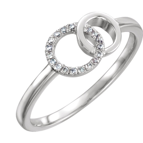 DOUBLE CIRCLE LIFE DIAMOND RING 14KT WHITE GOLD