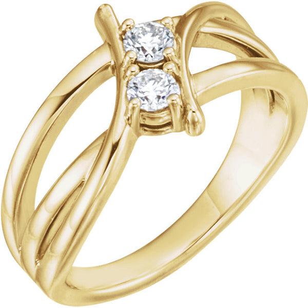 TWO STONE DIAMOND RING 14KT YELLOW GOLD