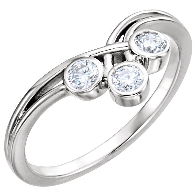 THREE STONE BEZEL SET DIAMOND RING 14KT WHITE GOLD