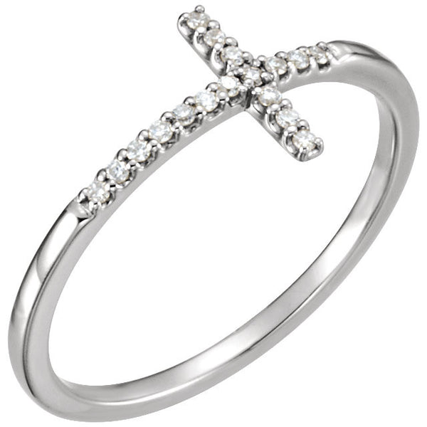 CROSS DIAMOND RING 14KT WHITE GOLD