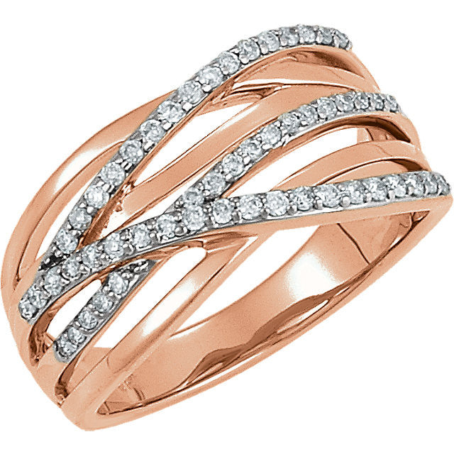 CRISS CROSS DIAMOND RING 14KT ROSE GOLD