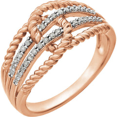 DIAMOND RING 14KT ROSE GOLD CRISS CROSS ROPE KNOT
