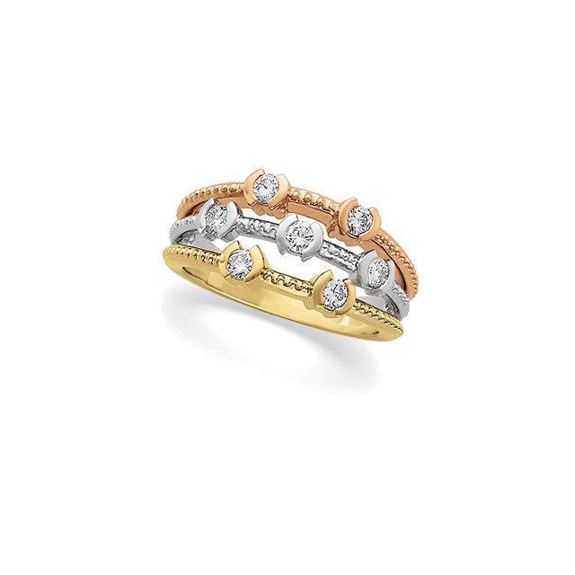 TRI-COLOR DIAMOND RING 14KT GOLD