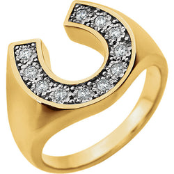 HORSESHOE DIAMOND MENS RING 14KT YELLOW GOLD