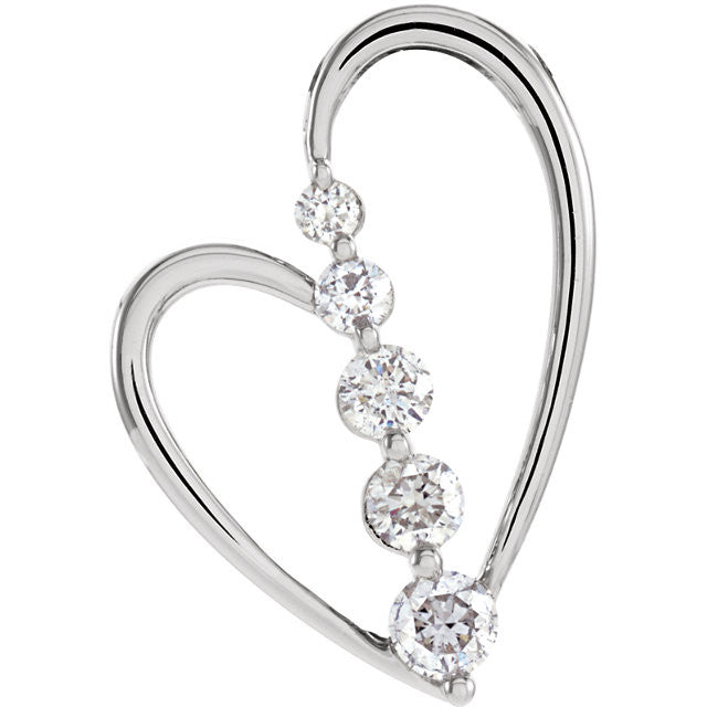 HEART SHAPE DIAMOND JOURNEY PENDANT 14KT WHITE GOLD