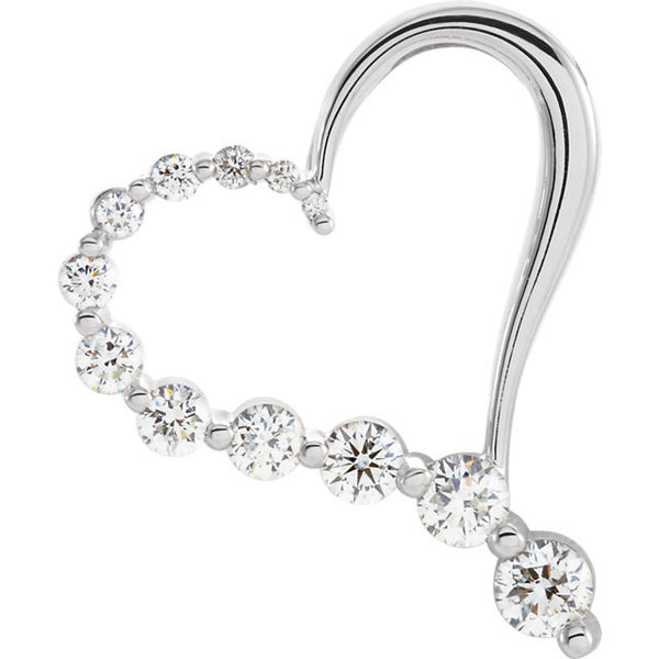 JOURNEY DIAMOND HEART PENDANT 14KT WHITE GOLD