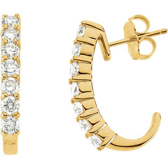 DIAMOND 1.00CT J-HOOP EARRINGS 14KT GOLD