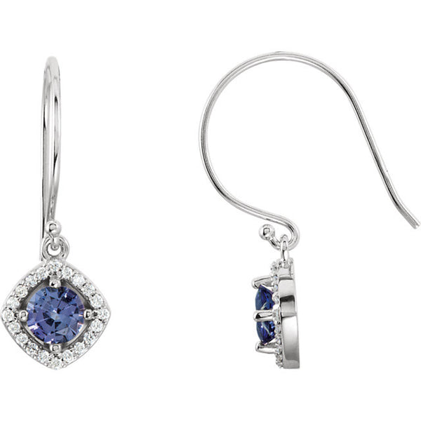 TANZANITE EURO WIRE DROP EARRINGS HALO STYLE DIAMOND EARRINGS 14KT WHITE GOLD