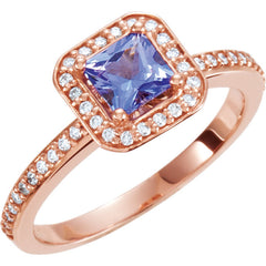 TANZANITE & DIAMOND RING PRINCESS CUT 14KT ROSE GOLD