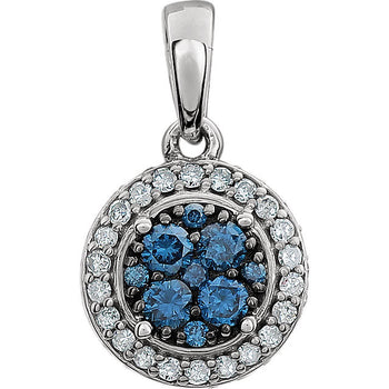 GLACIER BLUE & WHITE DIAMOND PENDANT 14KT WHITE GOLD