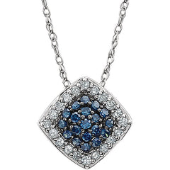 GLACIER BLUE & WHITE DIAMOND NECKLACE 14KT WHITE GOLD
