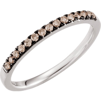 FANCY BROWN DIAMOND BAND 14KT WHITE GOLD STACKABLE