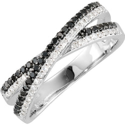 CRISS CROSS BLACK & WHITE DIAMOND RING 14KT WHITE GOLD
