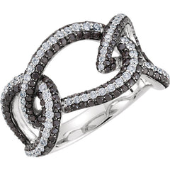 INTERLOCKING BLACK & WHITE DIAMOND RING 14KT WHITE GOLD