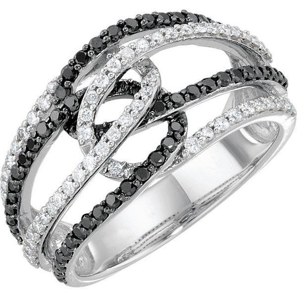 SWIRL INTERLOCKING BLACK & WHITE DIAMOND RING 14KT WHITE GOLD