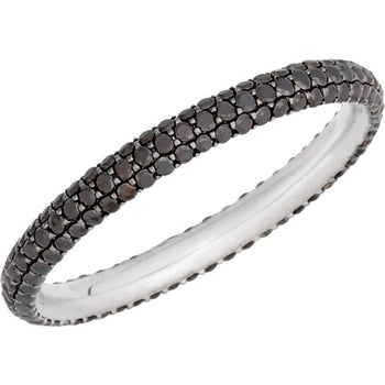 BLACK DIAMOND ETERNITY BAND 14KT WHITE GOLD