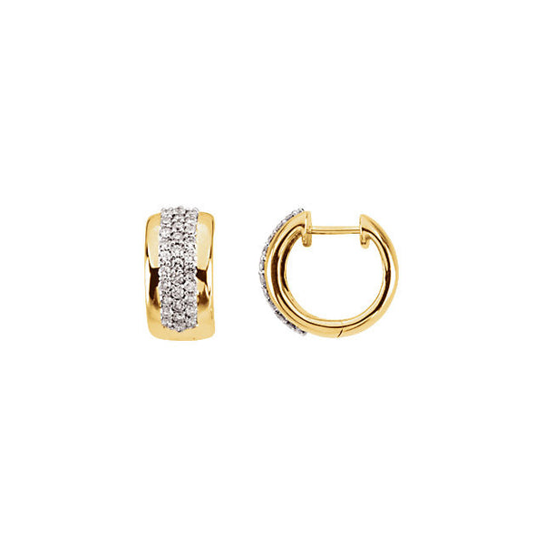 DIAMOND HOOP EARRING 14KT YELLOW GOLD