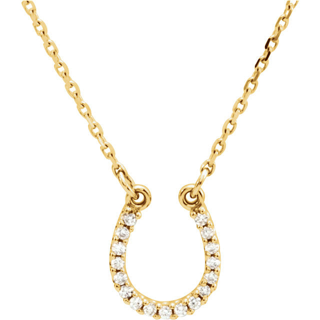 HORSESHOE DIAMOND NECKLACE 14KT GOLD