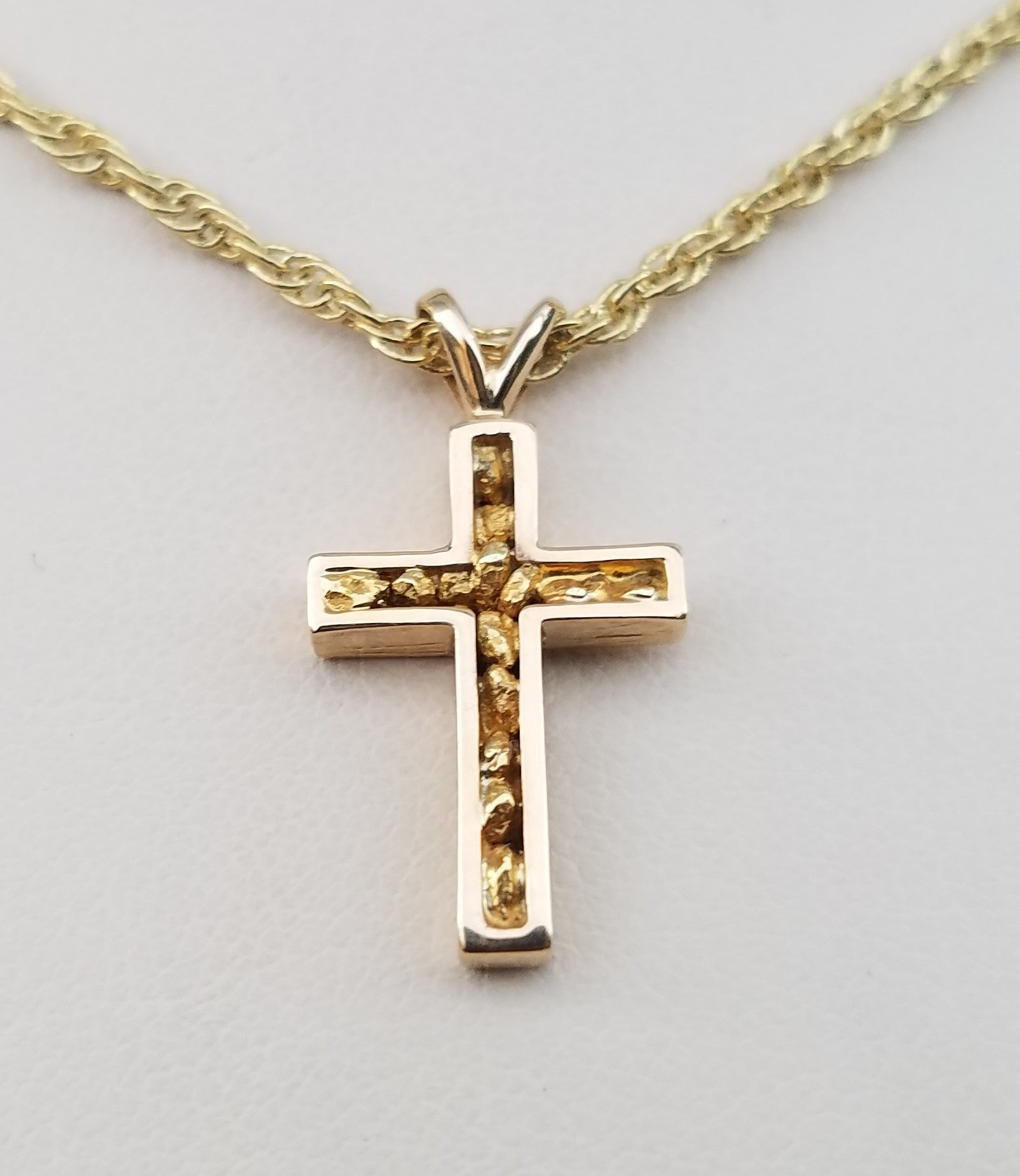NATURAL GOLD NUGGET CROSS PENDANT
