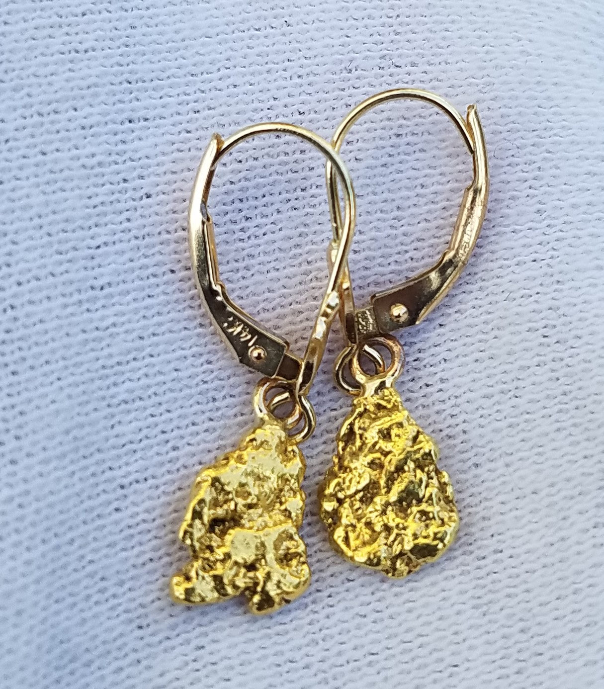 NATURAL GOLD NUGGET DROP EARRINGS