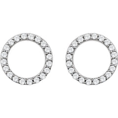 DIAMOND CIRCLE LIFE EARRINGS 14KT WHITE GOLD