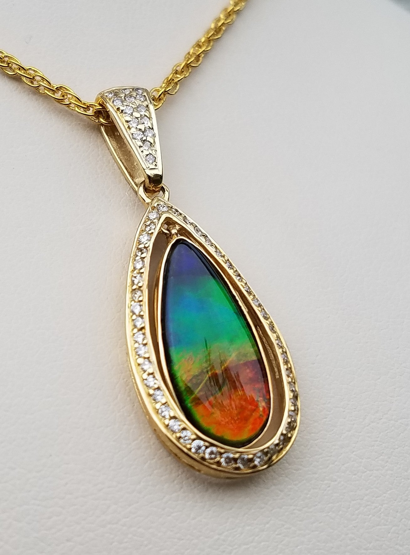 Ammolite & Diamond Pendant 14kt Gold