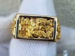 Natural Gold Nugget Men's Ring