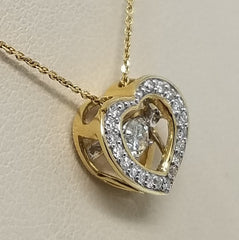DANCING DIAMOND HEART SHAPE PENDANT 14KT GOLD