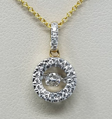 ROUND HALO DANCING DIAMOND PENDANT 14KT GOLD