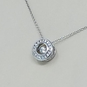DANCING DIAMOND CIRCLE HALO PENDANT 14KT GOLD
