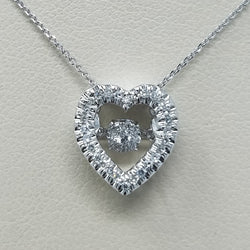 DANCING DIAMOND HEART SHAPED PENDANT 14KT WHITE GOLD