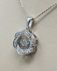 DANCING DIAMOND CIRCLE WAVE PENDANT 14KT GOLD