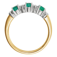 THREE-STONE EMERALD & DIAMOND ANNIVERSARY RING 14KT GOLD