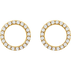 DIAMOND CIRCLE LIFE EARRINGS 14KT GOLD