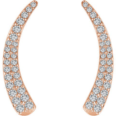 DIAMOND EAR CLIMBERS 14KT ROSE GOLD