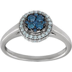 GLACIER BLUE & WHITE DIAMOND RING 14KT WHITE GOLD