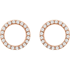 DIAMOND CIRCLE LIFE EARRINGS 14KT ROSE GOLD