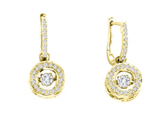 ROUND HALO DANCING DIAMOND EARRINGS DANGLE 14KT YELLOW GOLD