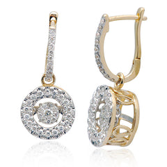 ROUND HALO DANCING DIAMOND EARRINGS DANGLE 14KT GOLD